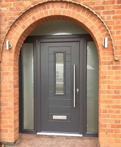 Endurance Doors - Alto - Anthracite Grey with x2 sidelights & fanlight