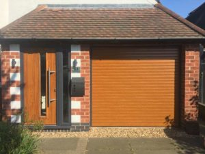 Endurance doors - Bleaklow with Alluguard Roller door - Golden Oak & Anthracite grey frame