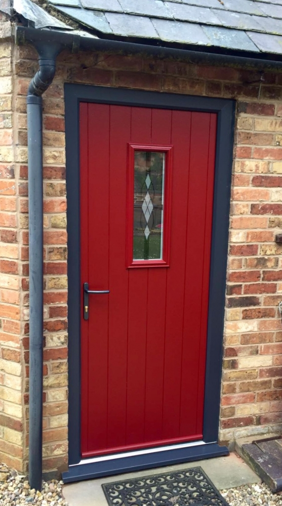 Endurance Doors - Tove - Rich Red & Anthracite Grey