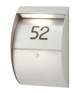 Letterbox with integrated light & number - RAL 9007